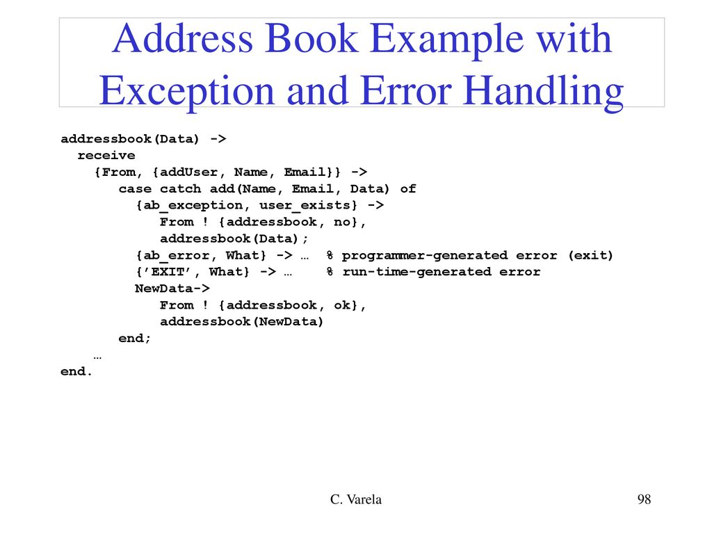 Address Book Example With Exception And Error Handling