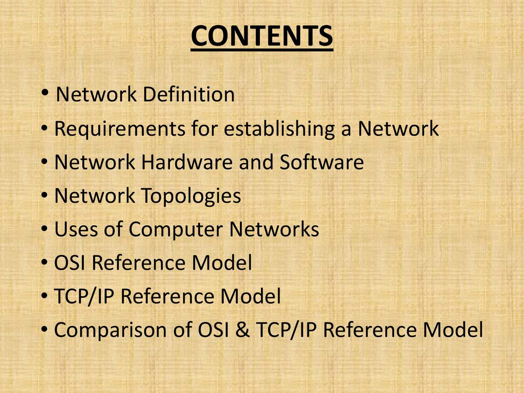 hight resolution of contents network definition requirements for establishing a network