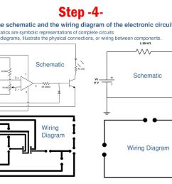 step 4 draw the schematic and the wiring diagram of the electronic circuit  [ 1024 x 768 Pixel ]