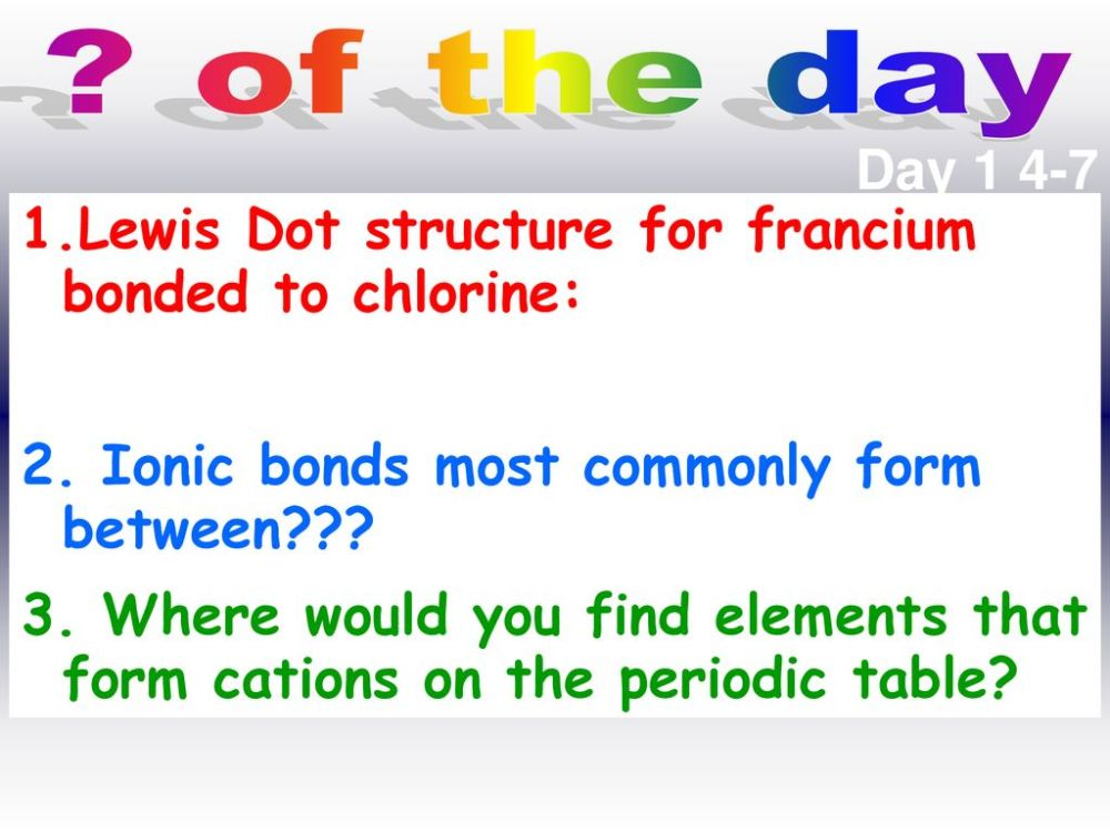 medium resolution of of the day day lewis dot structure for francium bonded to chlorine krypton dot diagram francium dot diagram