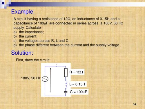 small resolution of example a circuit having a resistance of 12 an inductance of 0 15h