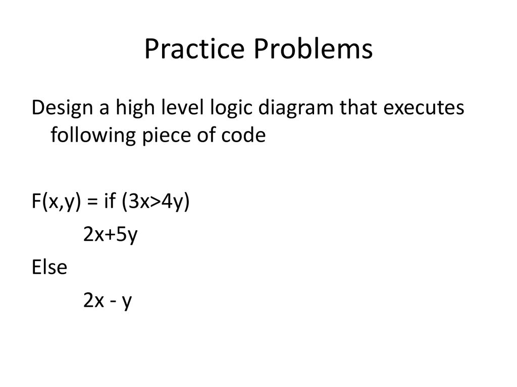 hight resolution of practice problems design a high level logic diagram that executes following piece of code f