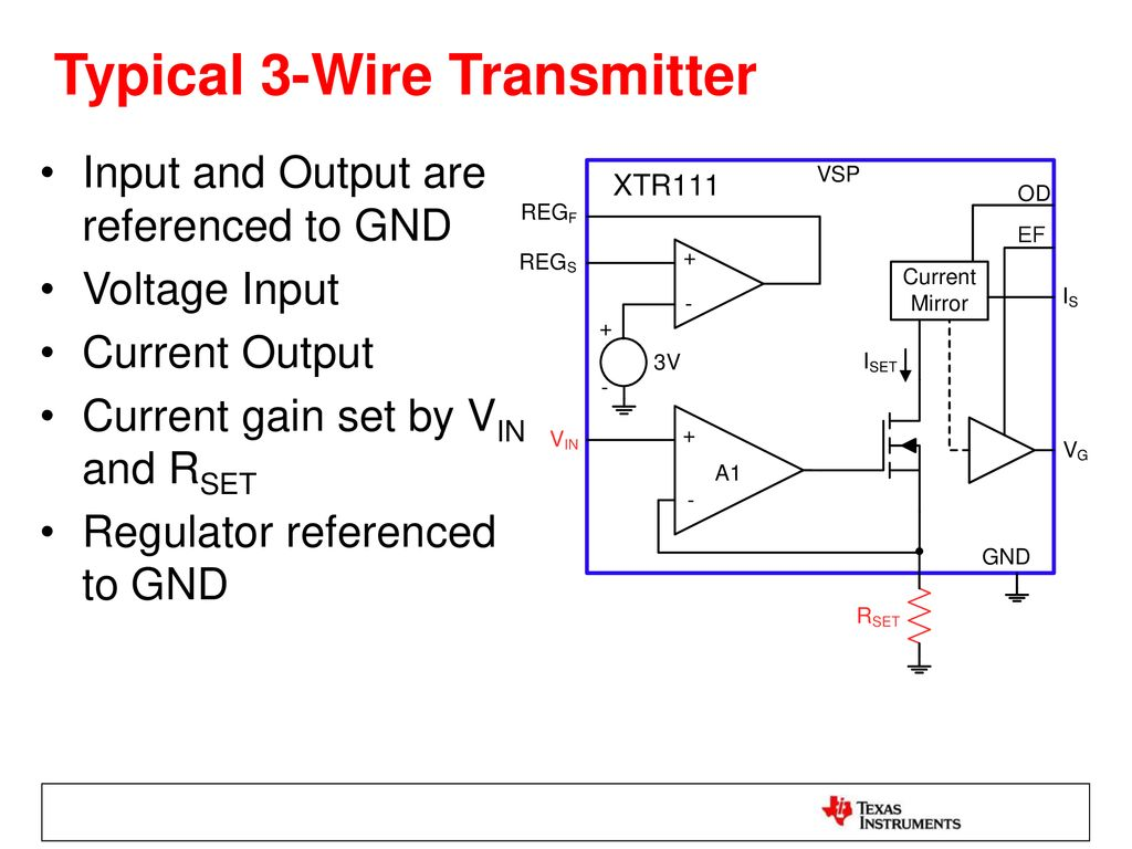hight resolution of 2 wire vs 3 wire transmitters ppt download rtd current loop transmitter using xtr105 circuit wiring diagrams
