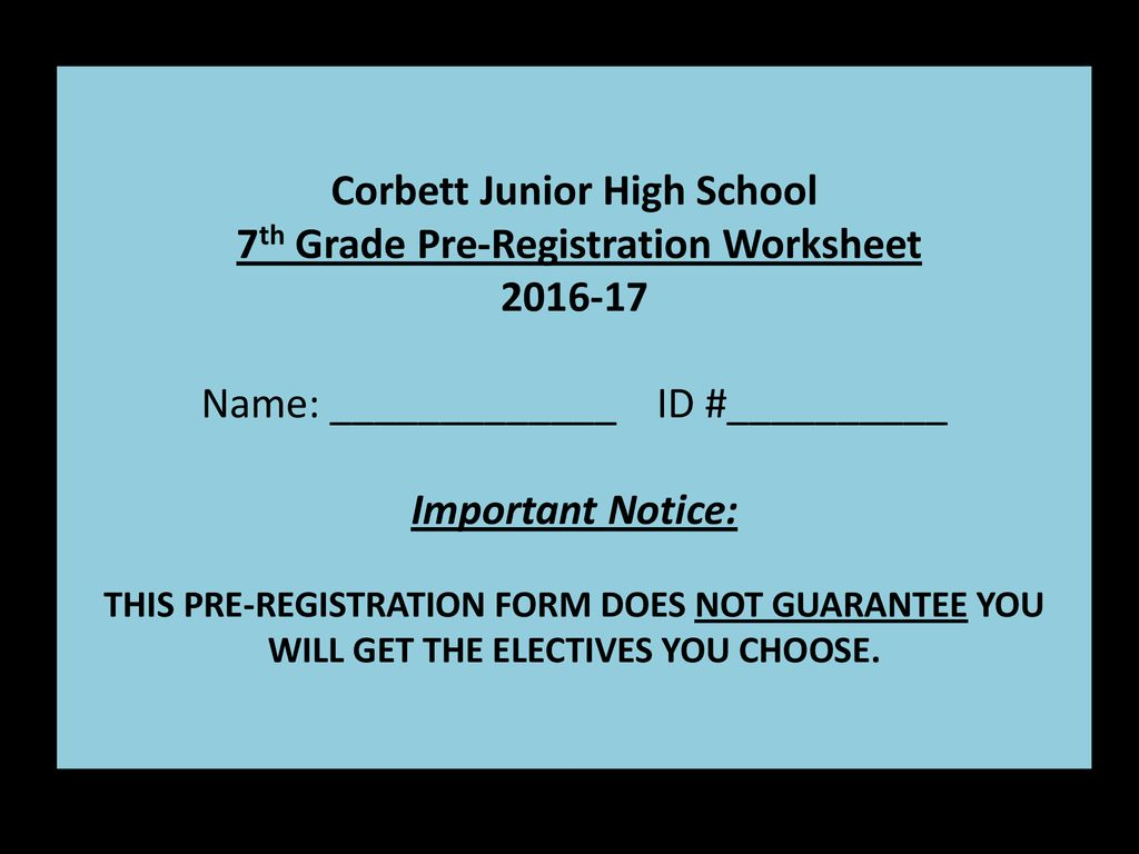 hight resolution of 7th grade Registration Information - ppt download