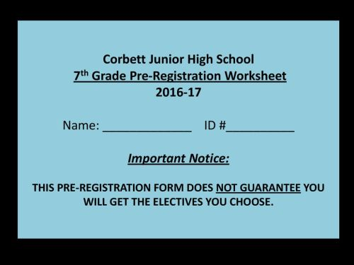 small resolution of 7th grade Registration Information - ppt download