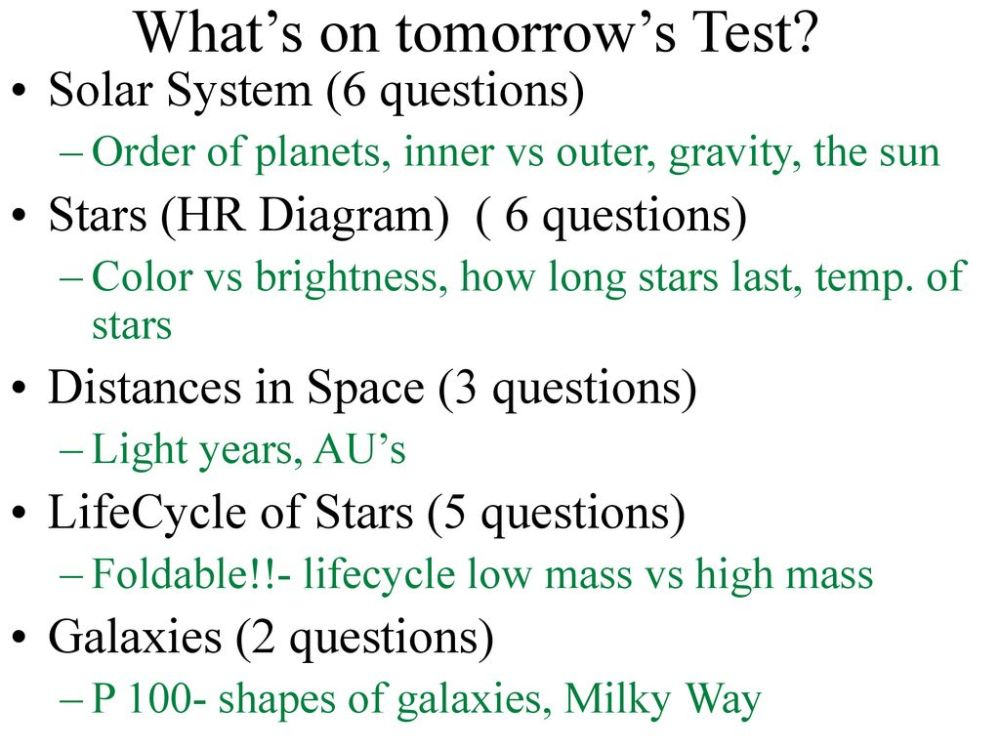 medium resolution of what s on tomorrow s test