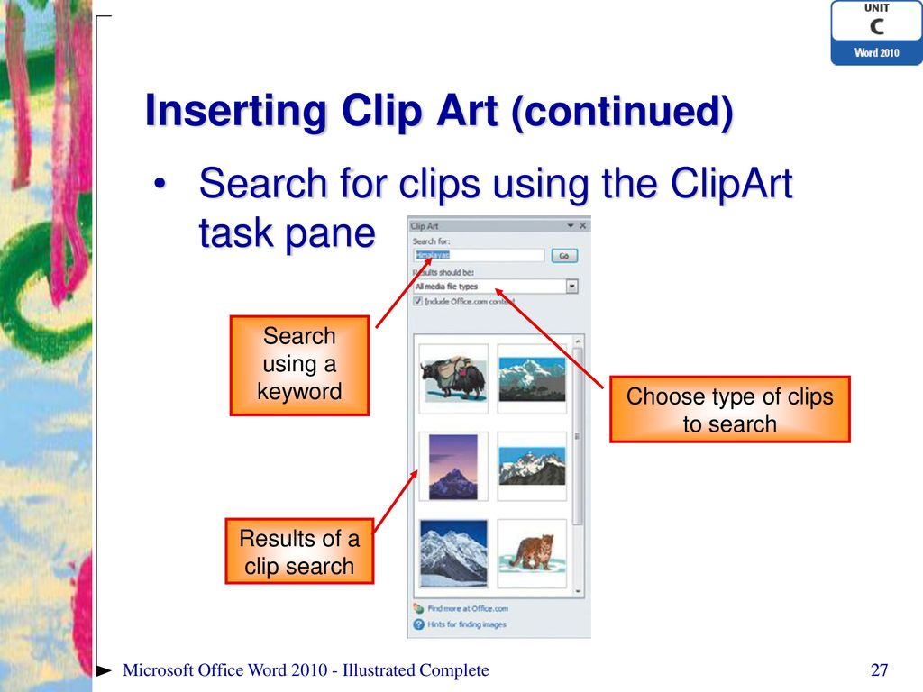 hight resolution of inserting clip art continued
