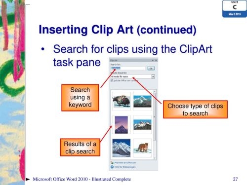 small resolution of inserting clip art continued