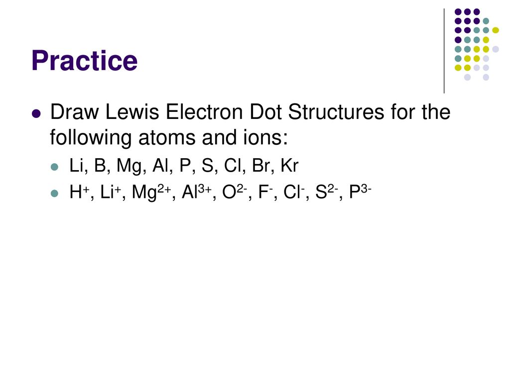 hight resolution of practice draw lewis electron dot structures for the following atoms and ions li b