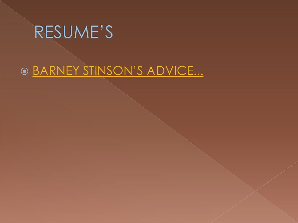 Barney Stinson Resume Resume Writing Cover Letters Ppt Download