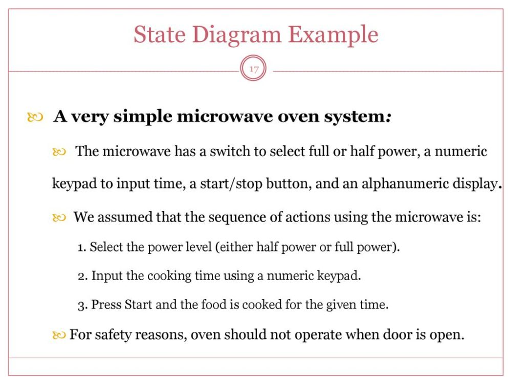 medium resolution of state diagram example a very simple microwave oven system 17