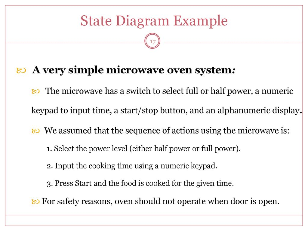 hight resolution of state diagram example a very simple microwave oven system 17