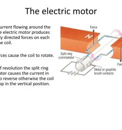the electric motor electric current flowing around the coil of the electric motor produces oppositely directed [ 1024 x 768 Pixel ]