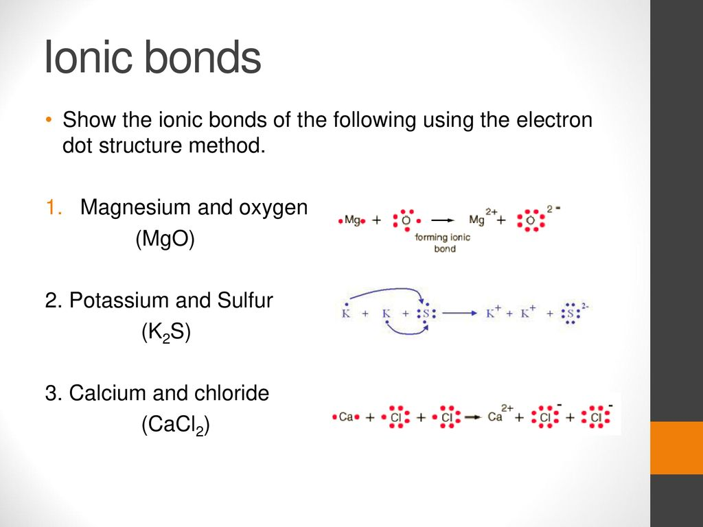hight resolution of ionic bonds show the ionic bonds of the following using the electron dot structure method