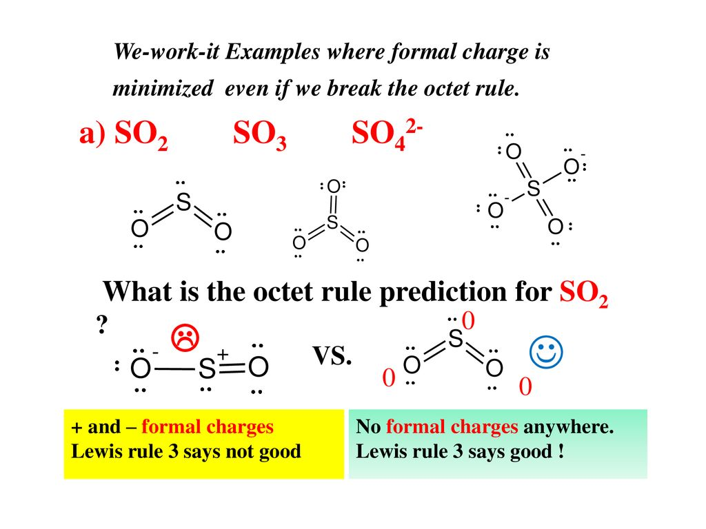 hight resolution of a so2 so3 so42 what is the octet rule prediction for so2