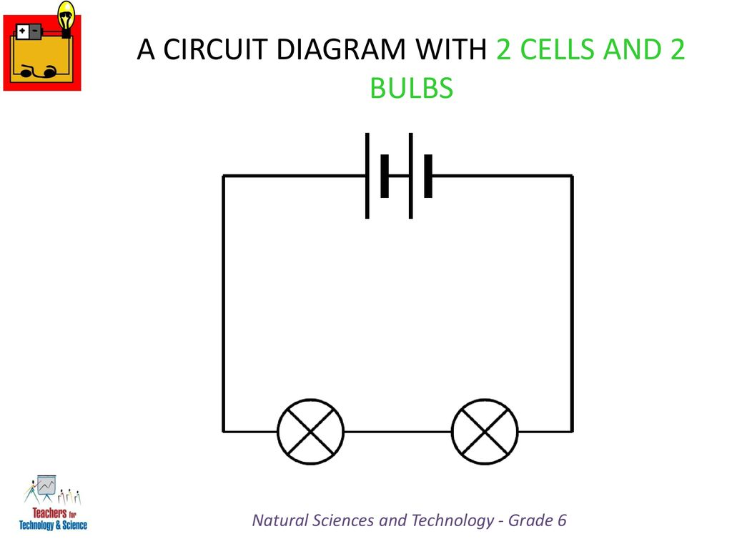 hight resolution of a circuit diagram with 2 cells and 2 bulbs