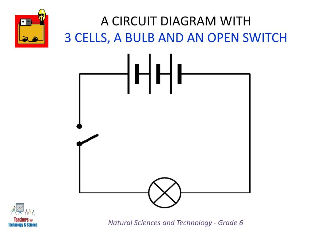 hight resolution of a circuit diagram with 3 cells a bulb and an open switch