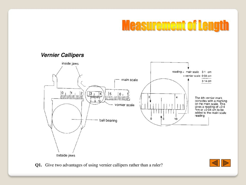 hight resolution of measurement of length vernier callipers
