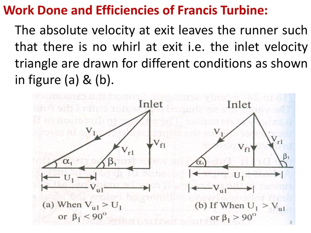 hight resolution of work done and efficiencies of francis turbine the absolute velocity at exit leaves the runner