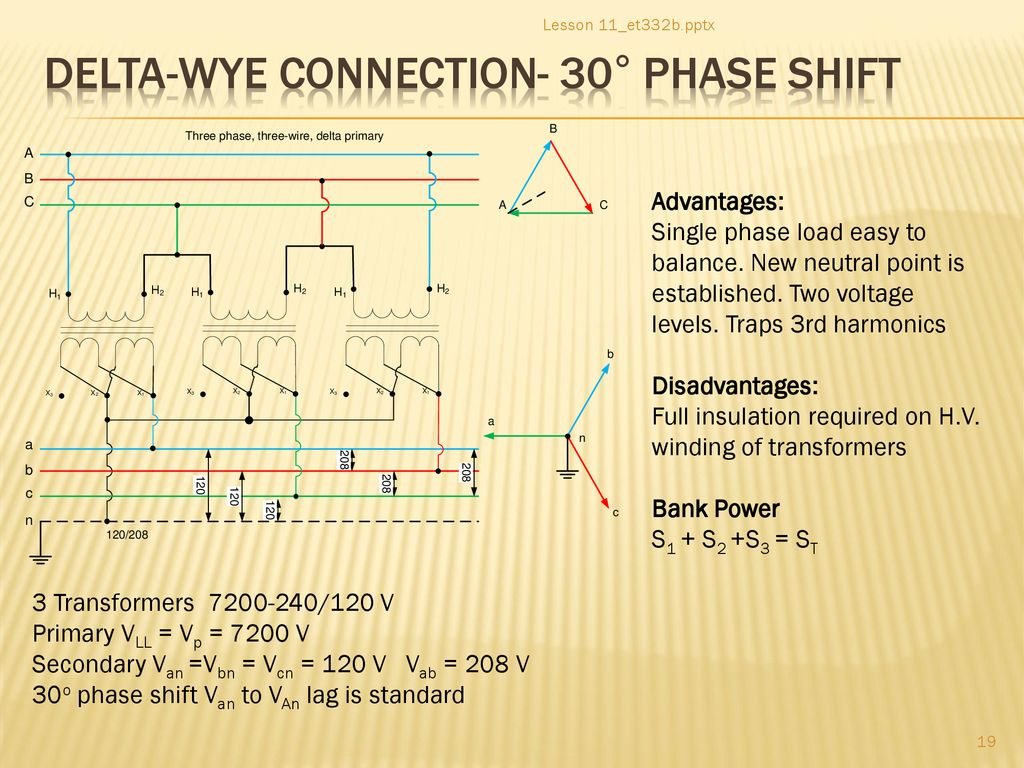 hight resolution of delta wye connection 30 phase shift