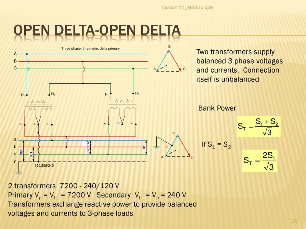 medium resolution of lesson 11 et332b pptx open delta open delta two transformers supply balanced 3 phase