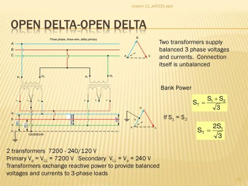 small resolution of lesson 11 et332b pptx open delta open delta two transformers supply balanced 3 phase