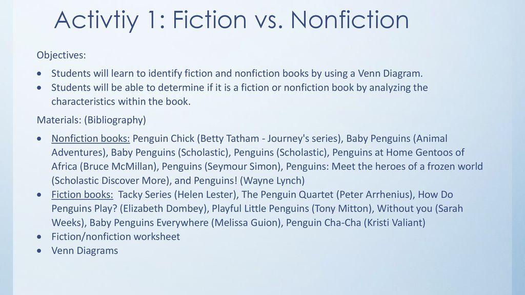 fiction vs nonfiction venn diagram photosynthesis and respiration cycle penguin constructivist unit ppt download activtiy 1