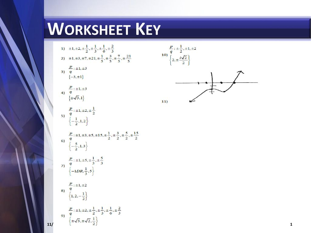 Fundamental Theorem Of Algebra Worksheet Answers
