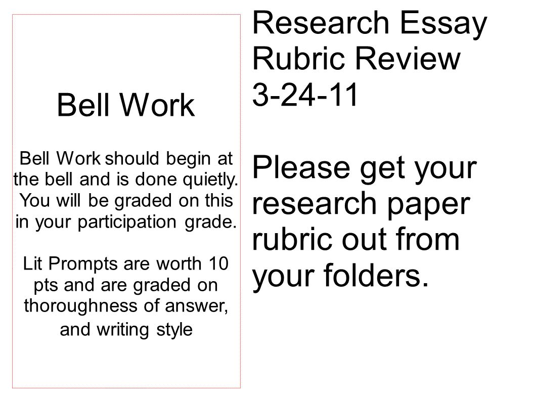 Research Paper Rubric Graduate School Homework Service