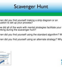 scavenger hunt when did you find yourself making a strip diagram or an equation to set [ 1024 x 768 Pixel ]