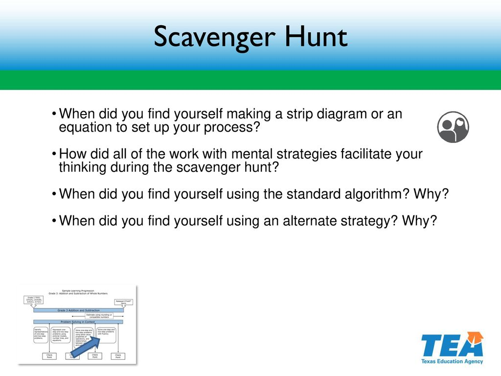 hight resolution of scavenger hunt when did you find yourself making a strip diagram or an equation to set