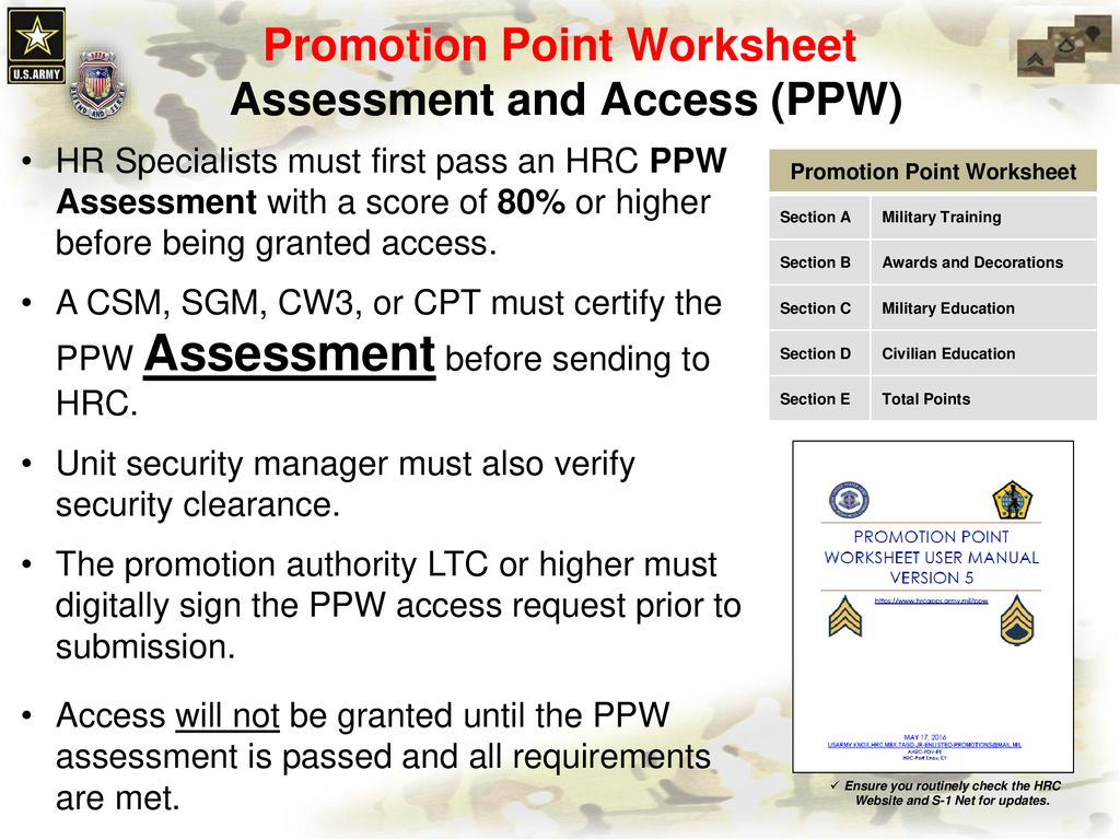 Army Promotion Point Worksheet Spc