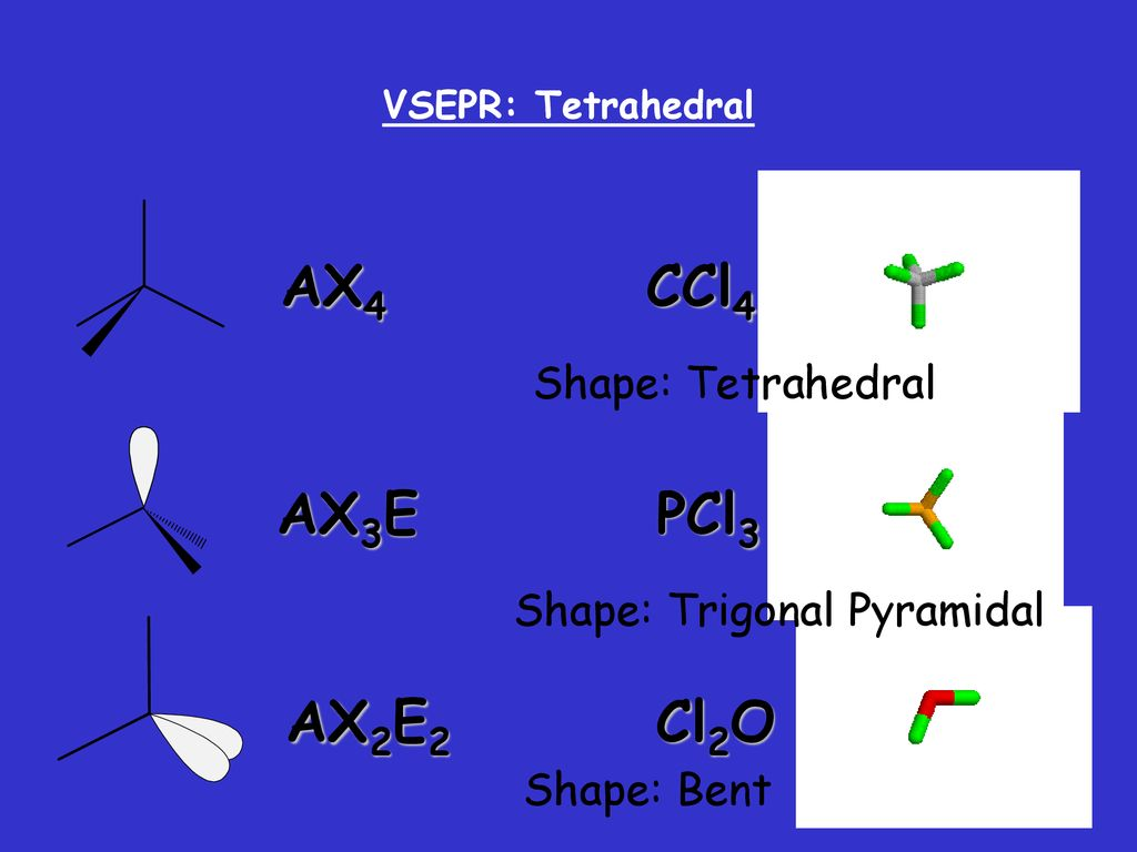 hight resolution of ax4 ccl4 ax3e pcl3 ax2e2 cl2o shape tetrahedral