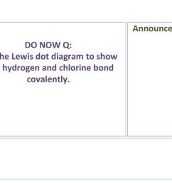 1 announcements do now q use the lewis dot diagram to show how hydrogen and chlorine bond covalently  [ 1024 x 768 Pixel ]