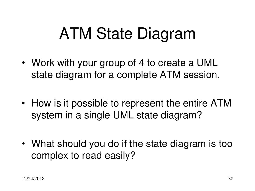 hight resolution of atm state diagram work with your group of 4 to create a uml state diagram for