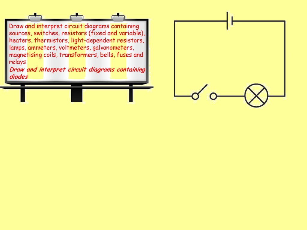 hight resolution of draw and interpret circuit diagrams containing sources switches resistors fixed and variable