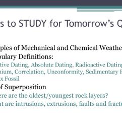 23 items to study for tomorrow s quiz examples of mechanical and chemical weathering vocabulary definitions relative dating absolute  [ 1024 x 768 Pixel ]