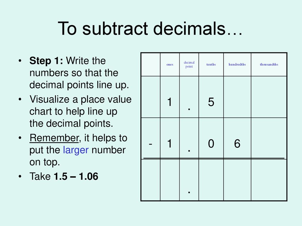 hight resolution of Adding and Subtracting Decimals - ppt download