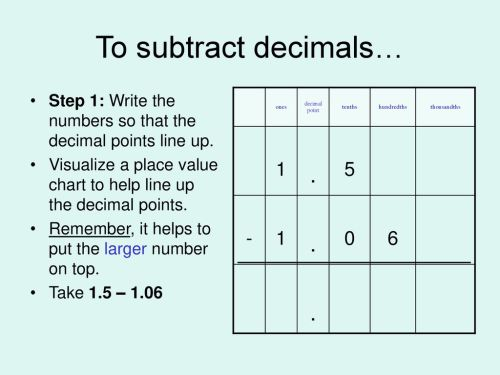small resolution of Adding and Subtracting Decimals - ppt download