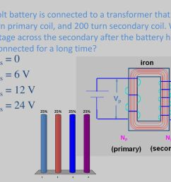 what is the voltage across the secondary after the battery has been connected for  [ 1024 x 768 Pixel ]