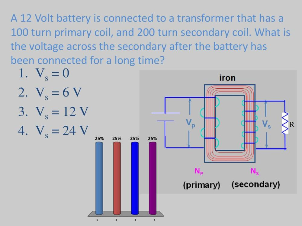 medium resolution of what is the voltage across the secondary after the battery has been connected for