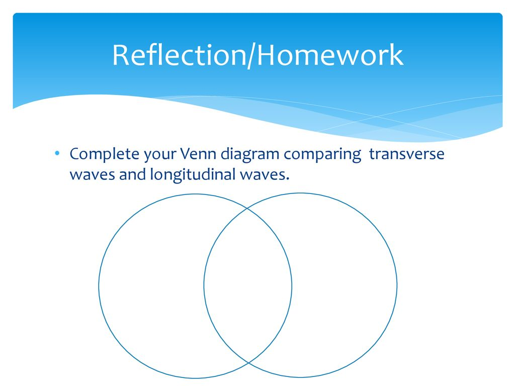 venn diagram of transverse and longitudinal waves 2003 subaru forester radio wiring jag mark pick up one each the papers on front lab table 41 reflection homework complete your comparing