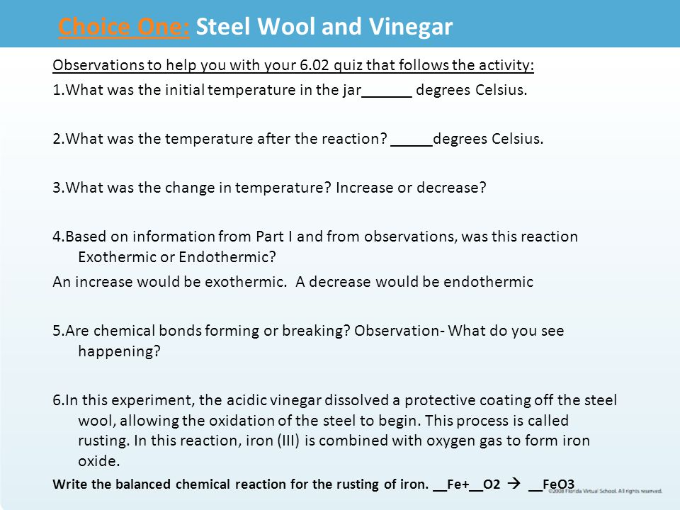 Vinegar And Steel Wool Chemical Reaction
