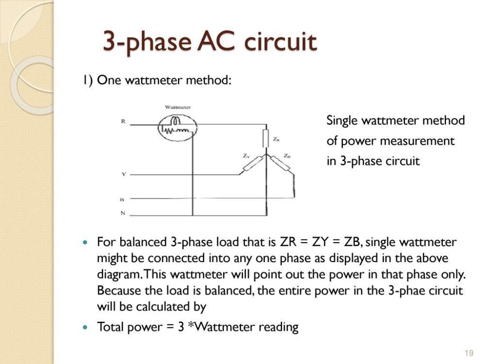medium resolution of 3 phase ac circuit 1 one wattmeter method single wattmeter method