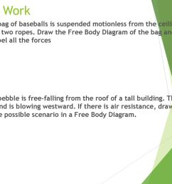 free body diagram bell work a bag of baseballs is suspended motionless from the ceiling by two ropes  [ 1024 x 768 Pixel ]
