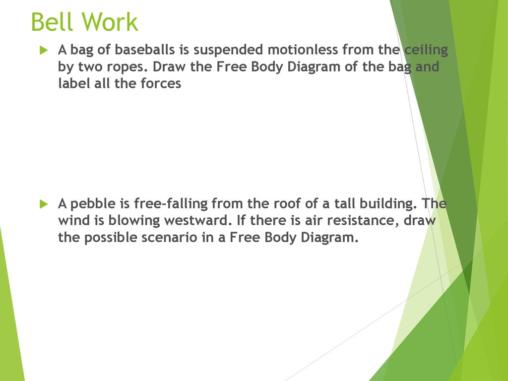 hight resolution of  free body diagram bell work a bag of baseballs is suspended motionless from the ceiling by two ropes