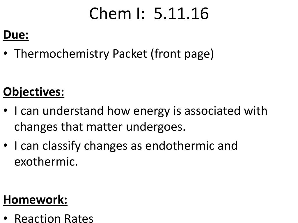Reaction Rates And Thermochemistry Worksheet
