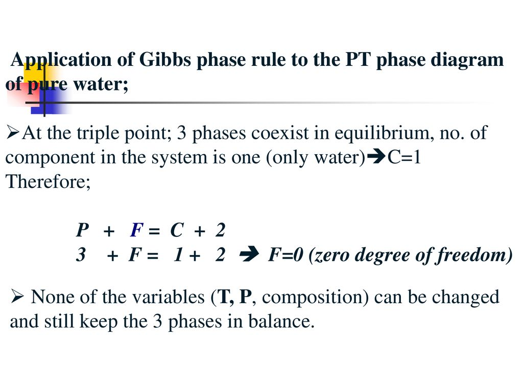 hight resolution of application of gibbs phase rule to the pt phase diagram of pure water