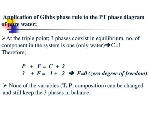 small resolution of application of gibbs phase rule to the pt phase diagram of pure water