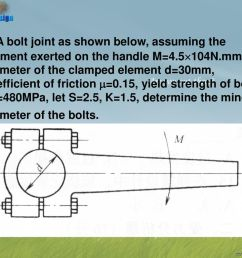 55 4 a bolt joint as shown below assuming the moment exerted on the handle m 4 5 104n mm diameter of the clamped element d 30mm coefficient of friction  [ 1024 x 768 Pixel ]